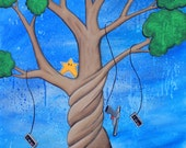 The Tree of Extra Life-  8x10 Art Print - Nintendo Tree with Mushrooms, Duck Hunt Controller, Invincibility Star - Art by Marcia Furman