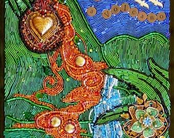 My Hearts a Volcano Beaded Mosaic Art