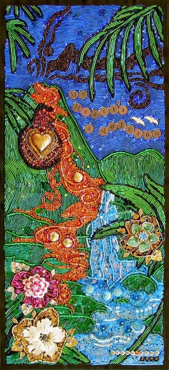 My Hearts a Volcano Original Beaded Mosaic