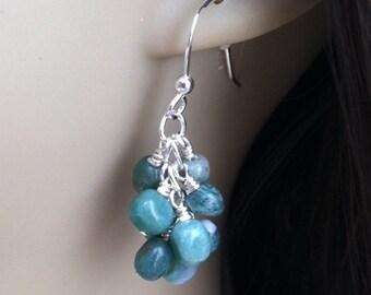 African Jade Earrings. Jade Earrings. Sterling Silver Earrings. Cluster Earrings. Green Jade Earrings