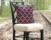 Southwestern Print Decorative Pillow Cover - 16 x 16 in Red, Black and Gray