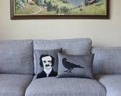 Edgar Allan Poe and Raven Decorative Pillow Set