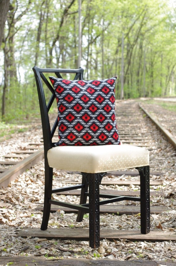 Southwestern Print Throw Pillows : Items similar to Southwestern Print Decorative Pillow Cover - 16 x 16 in Red, Black and Gray on Etsy