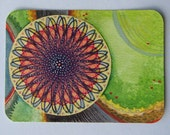 Original ATC/ACEO - rotary dial - 050 - (abstract mixed media art card on recycled paper)