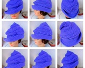 Crochet Hat Womens Hat, VIRGINIA Steampunk Hat, Wide Brim Hat, Purple Hat