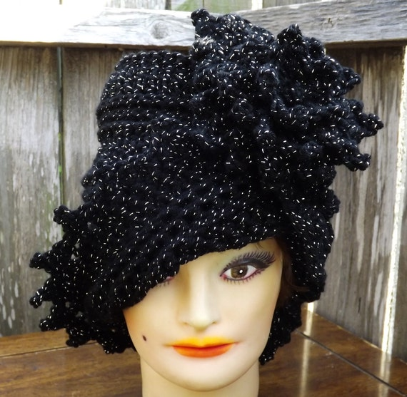 LAUREN Black Sparkle Cloche Hat with Flower, Black Crochet Hat Womens Hat, Womens Crochet Hat, Black Hat, Formal Hat