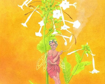 The Poison Flower Fairies: Nicotiana the Tobaccoo Plant Fairy - giclee print