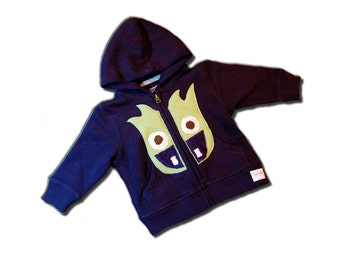 MONSTER HOODY - Navy Blue MONSTERLICIOUS Zip-Up - Zeus the Monster - Olive Monster On Navy Blue Hoodie - Made To Order by joeyandaleethea