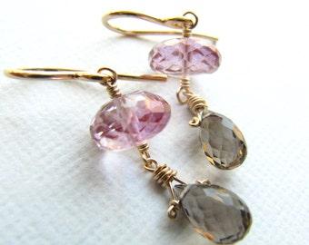 Drop Earrings Wire Wrapped Mystic Pink Topaz Smokey Quartz