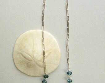 Strand Necklace Handmade Silver Chain Modern London Blue Topaz Birthstone