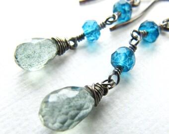 Wire Wrapped Short Dangle Drop Earrings Mystic London Blue Topaz Moss Aquamarine