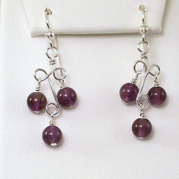 Amethyst Earrings Sterling Silver Purple Wire Wrapped