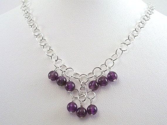 Amethyst Necklace Purple Sterling Silver Wire Wrapped