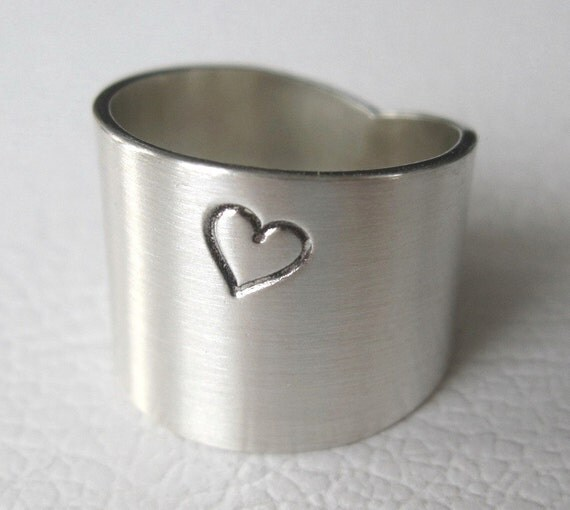 Wide Sterling Silver Ring with Heart Design