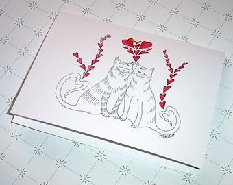 Romantic Cat Valentine's Day Card, Cat Anniversary Card, Cat Wedding Card, Cat Greeting Card, Cat Birthday Card, Cat Love Card, Cats in Love