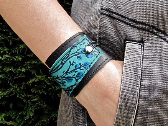Leather Cuff Bracelet Wrap, Twiggy Print in Black & Turquoise * SALE * Coupon Codes