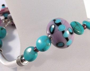 Lampwork, turquoise and amethyst sterling silver bracelet bangle - handmade