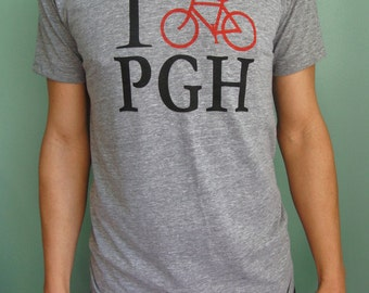 I bike PGH Track T-shirt- Pittsburgh, Tri-Blend, Pittsburgh