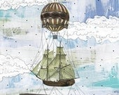 Whale Art , Hot Air Balloon Illustration , Whale Illustration, Mixed Media Reproduction,  5x7 Giclee Print . Print 2207
