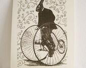 Clearance!  Bunny Rabbit Art , Bicycle Art Print , Black and White Screenprint , Whimsical Art