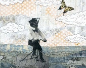 """Bear Art Print. 5x7"""" or 8x10"""". The Bike Ride . Mixed Media Collage Giclee Art Print Reproduction"""