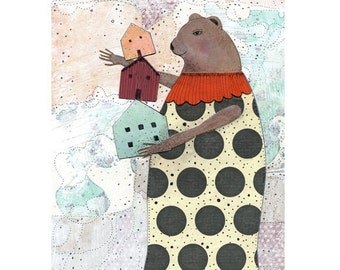 Clearance! Bear Animal Art Print , Mixed Media Collage Art Reproduction , Whimsical Nursery Collage Art , 5x7 . Print 707