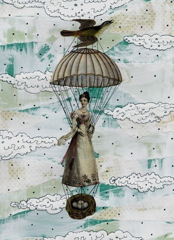 Clearance! Balloon Painting , Mixed Media Collage Art Reproduction , Whimsical Collage Painting , 5x7. Print 7507
