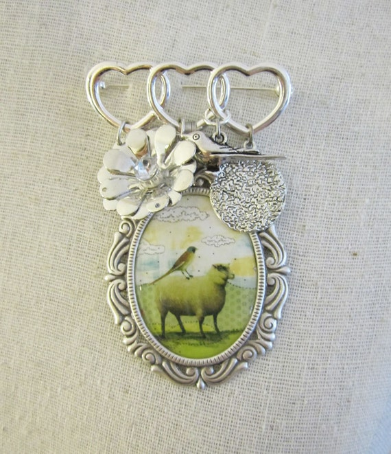 Sheep Brooch Pin , Animal Brooch  , Mixed Media Jewelry , Whimsical Art Jewelry