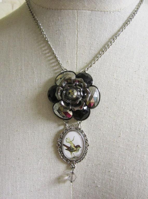 Rabbit Necklace , Pendant Necklace , Animal Jewelry , Assemblage Art Jewelry , Mixed Media jewelry