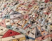 Restored Antique Crazy Quilt 1930s Cotton Fabrics Wool Batting