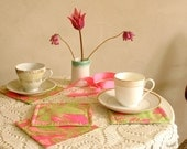 Quilted Tea Mats / Coasters / Neon Pink Mint / Summer Home Decor /  Set of 4