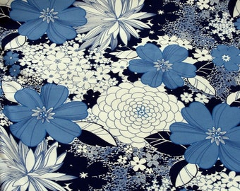 Blue & White Floral Print Polished Cotton Lycra 3 Yards