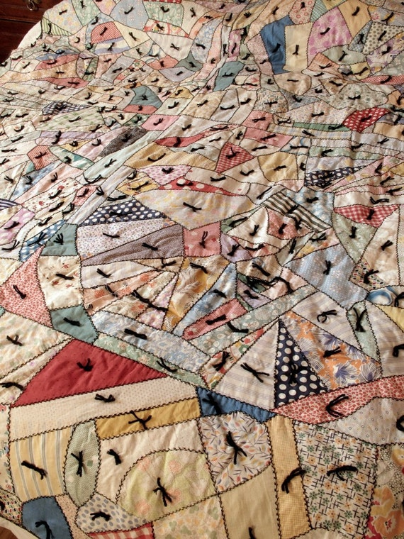 Restored Antique Crazy Quilt 1930s Cotton Fabrics Wool Batting