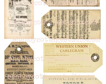 INSTANT DOWNLOAD DIGITAL Vintage Ephemera Tags