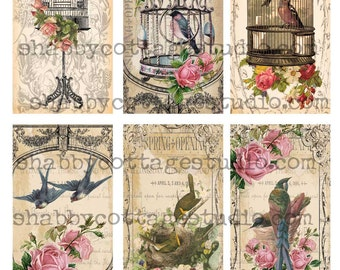 INSTANT DOWNLOAD TAGS Collage Sheet Birds and Roses Romantic Birdcages Digital