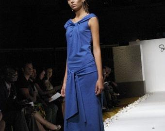 sky blue cotton knit dress