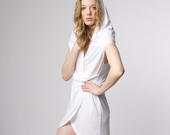 white hoody wrap dress