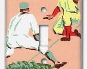 Single Switch Plate 1950's Vintage Wallpaper Strike One Baseball