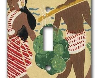 Mid Century Polynesian Island 1950's Vintage Wallpaper Switch Plate