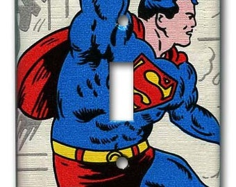 Superman Saves 1970's Vintage Wallpaper Switch Plate