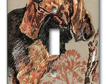 Hunting Dog Switch Plate 1980 Vintage Wallpaper Blood Hound