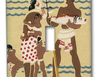 Single Switch Plate 1950's Vintage Wallpaper Mid Century Polynesian