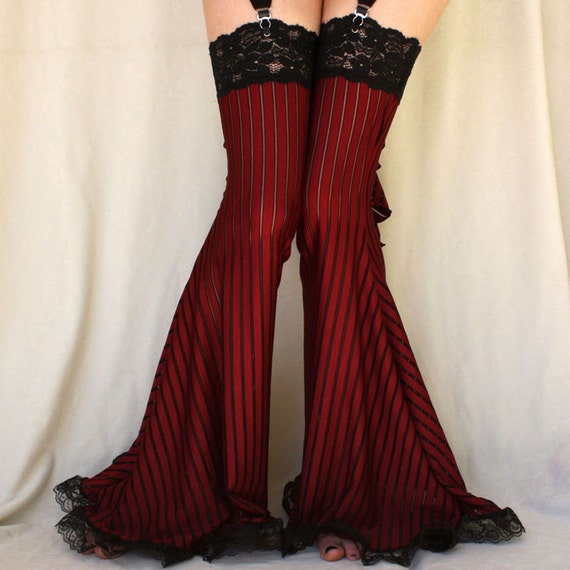 Burlesque Garter Pants Leg warmers burgundy stripe LAST PAIR