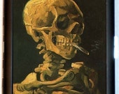 "Skeleton Skull Smoking Cigarette Case Business Card Case Wallet Van Gogh ""Skull of a Skeleton with Burning Cigarette"""