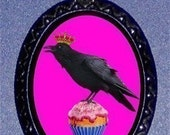 KING CROW Cupcake Necklace Whimsical Pink Princess Blackbird Pendant necklace Goth Emo Punk Kitsch New