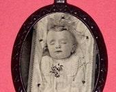 Postmortem Dead Baby Victorian Haunting Imagery Pendant Necklace Sleeping Beauty Sad Haunted