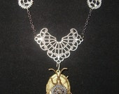 Victorian Steampunk Necklace March of Industry Locket Insect Gears Beetle
