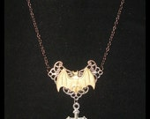 Victorian Steampunk Whats At Stake Bat Necklace Twilight Vampire Gothic Goth