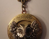 Beautiful Victorian OWL TAKES FLIGHT Locket Necklace