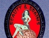 ZOMBIE GIRL Beauty AND Brains Pendant Necklace Psychobilly Pinup Girl Rockabilly Bad Girl New